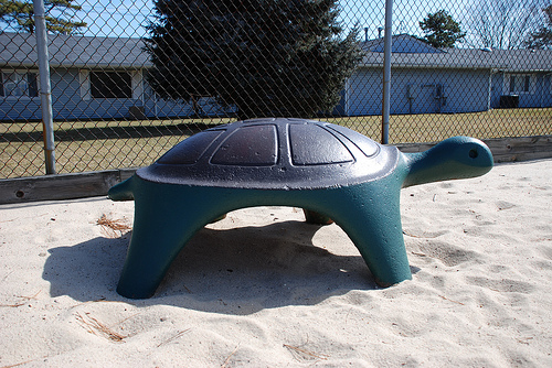 Turtle playground equipment in the sand