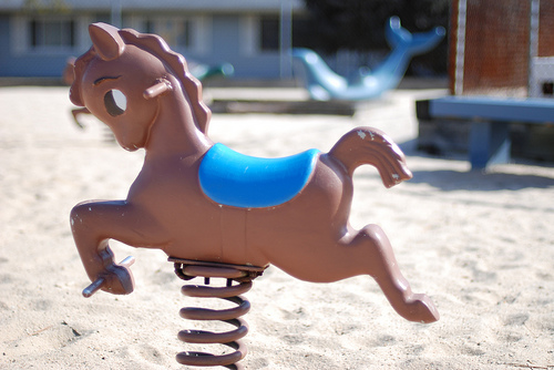 Brown Spring Rider Pony Playground Equipment from the 70s