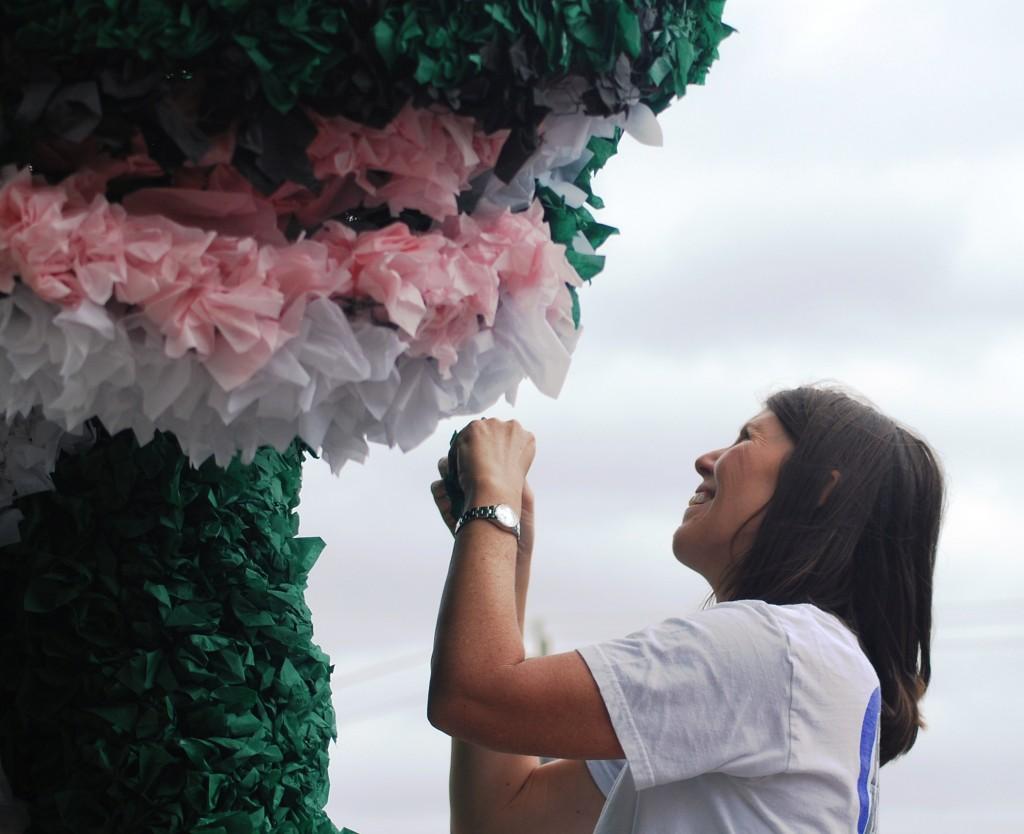 Decorating a Parade Float