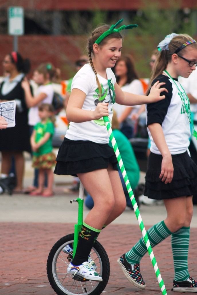 St. Patrick's Day unicycle