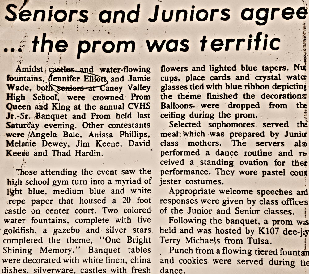 Prom News Clipping 1985