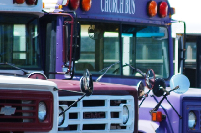 Purple Church Buses