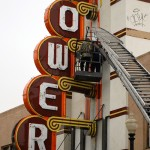 See the Tower Theater neon sign light up at 630 tonight