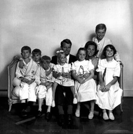 RFK and Ethel with seven of their 11 children.