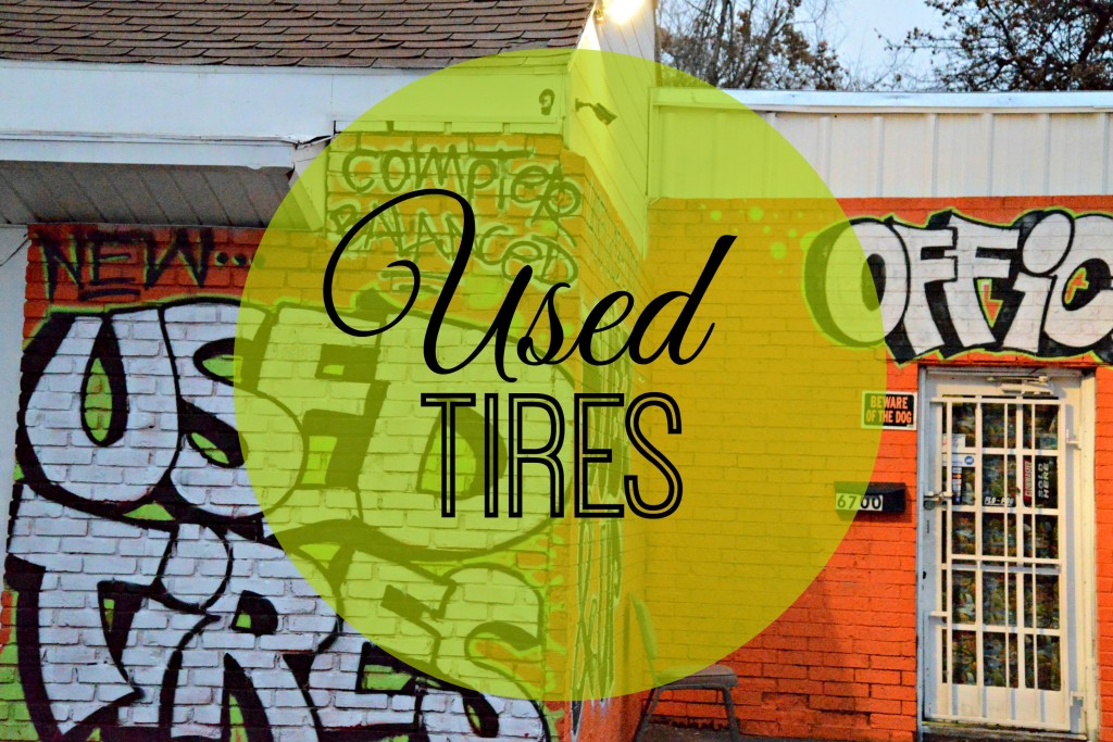 Used Tires Graffiti Orange Painted Brick Office