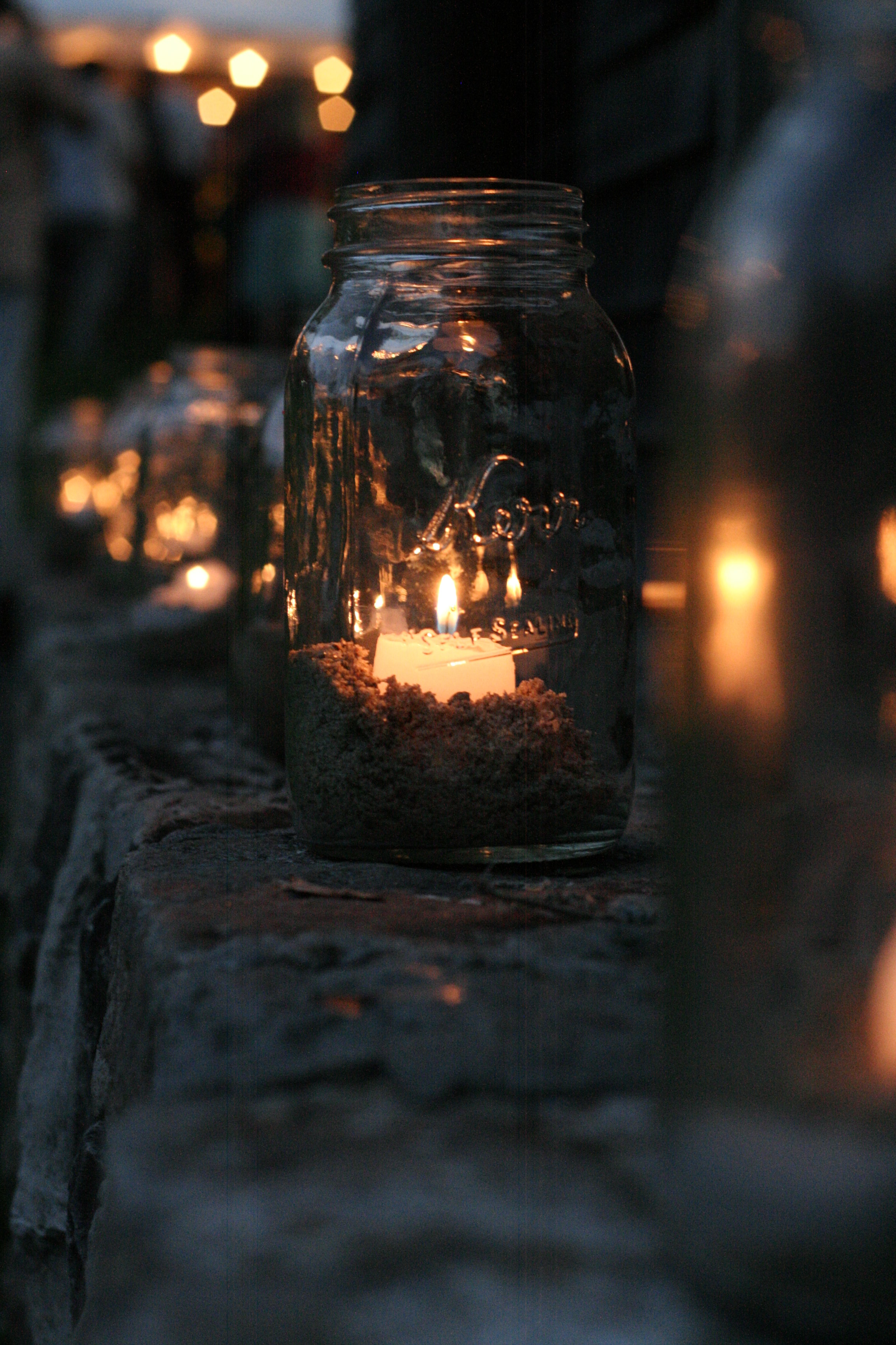 Kerr Mason Jar with candle for prayer