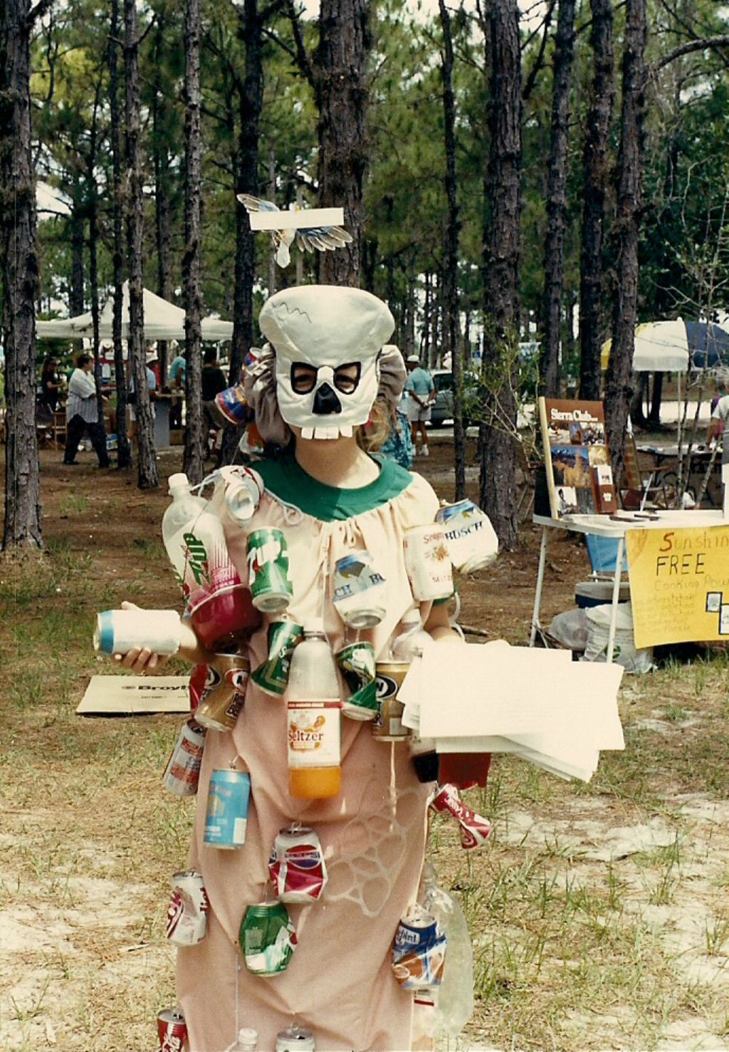 Earth Day 1990 | A woman dressed up as a garbage lady promotes recycling