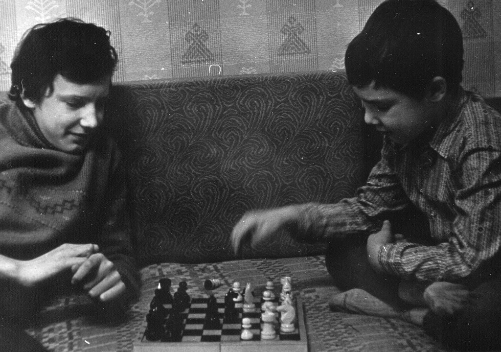 Russian Brothers Playing Chess January 1982