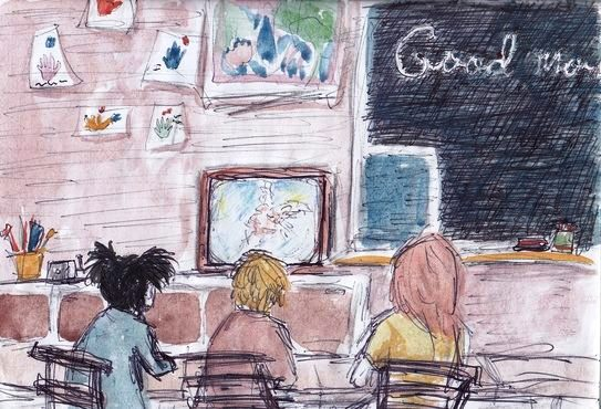 Challenger Disaster from a Classroom - watercolor