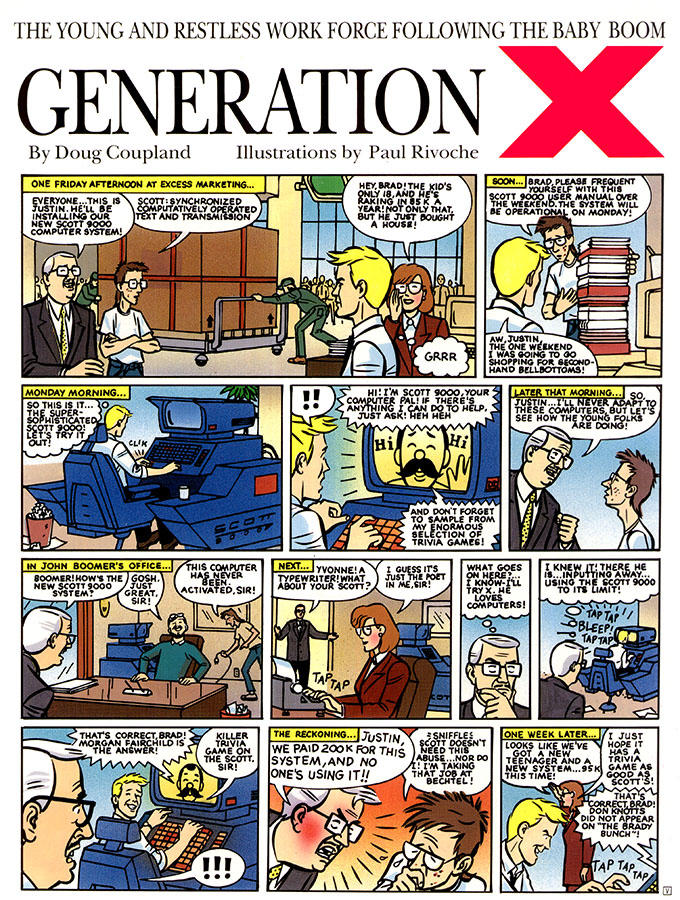 Rare Gen X Comic strip by Coupland