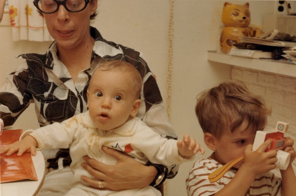 Note the Fisher Price camera in son Stuart's hands. Photo by Barry Rich