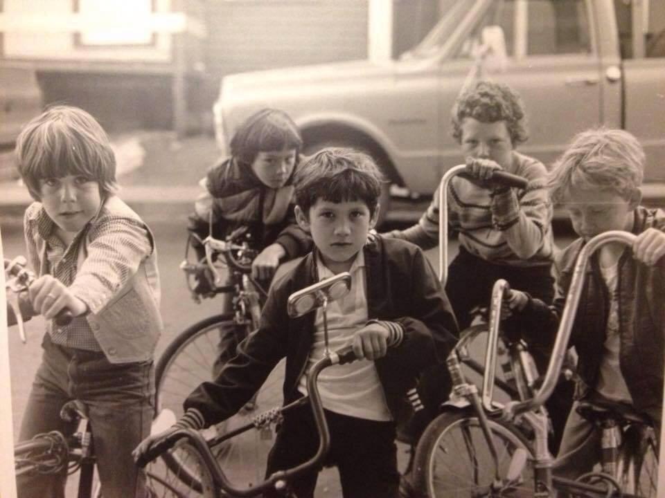 Boys ride ape hanger bikes in St. John's.