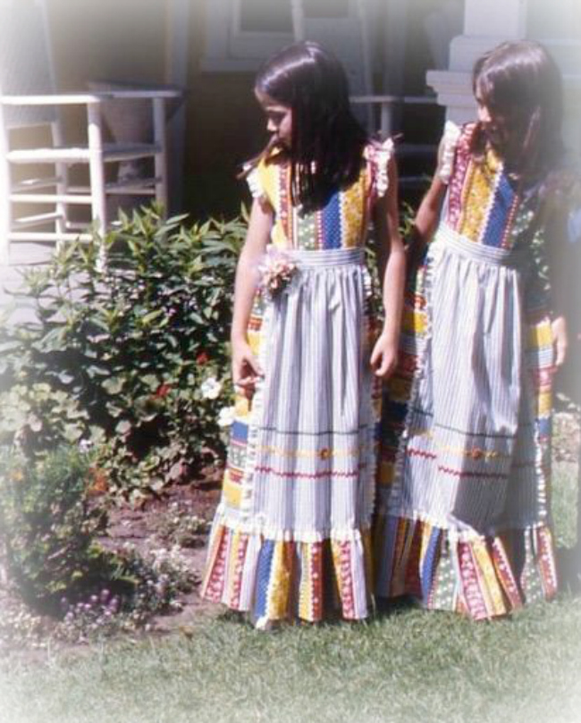 Bicentennial Era Patchwork Dresses with White Pinafores, 1976