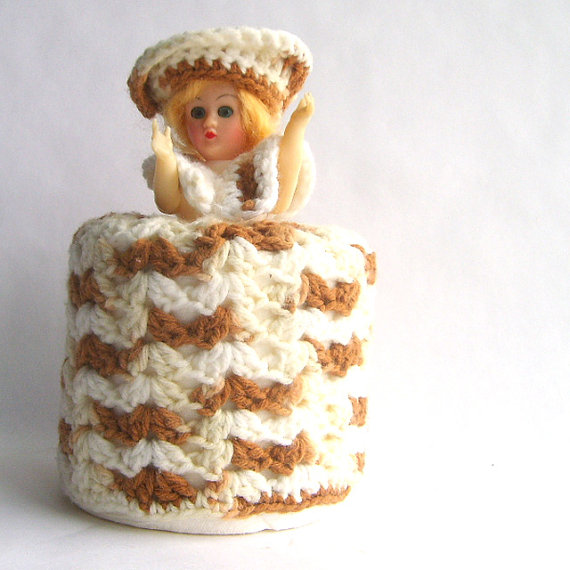 crocheted doll toilet paper cover