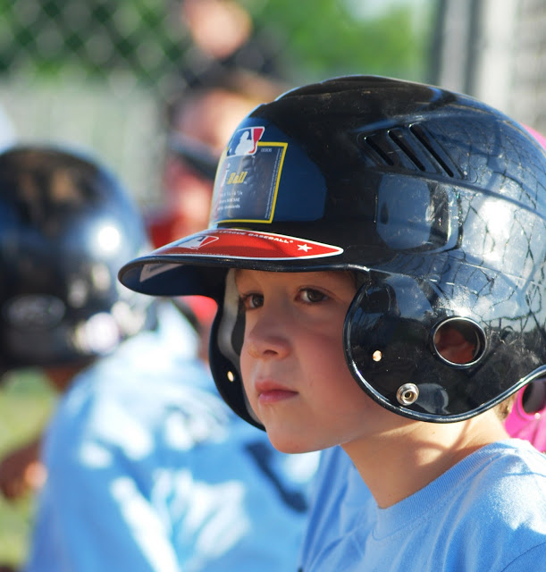 Little Boy Playing T-Ball