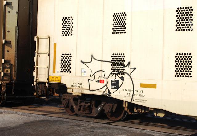 Hedgehog graffiti on a train