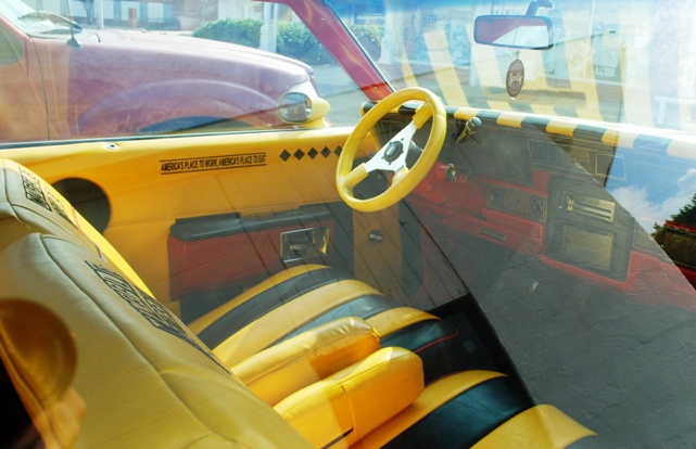 The custom interior of the Waffle House donk car in Oklahoma City