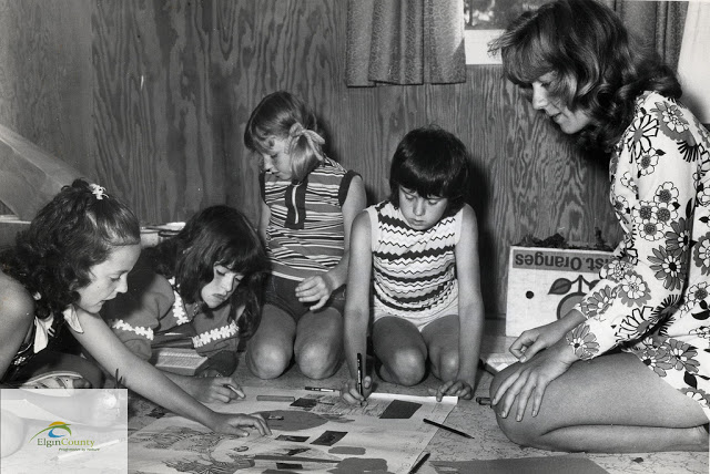 Chidren working on a VBS project, 1970s