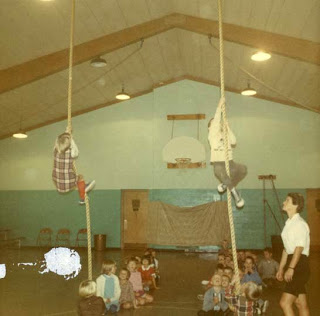 Climbing ropes in Gym class