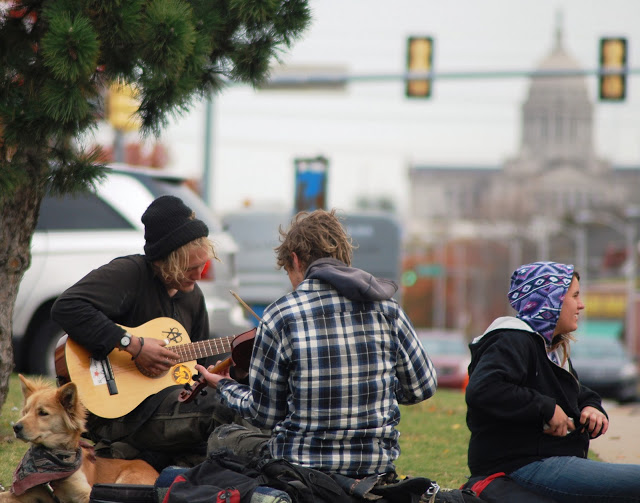 Homeless young people near the Oklahoma Capitol.