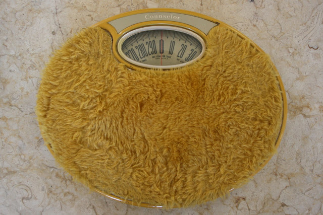 Yellow Fur Covered Bathroom Scale