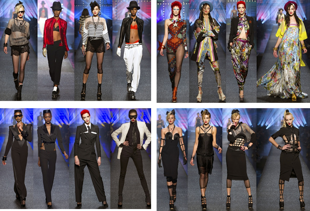 Jean Paul Gaultier's Spring 2013 featuring 80s fashion icon looks.
