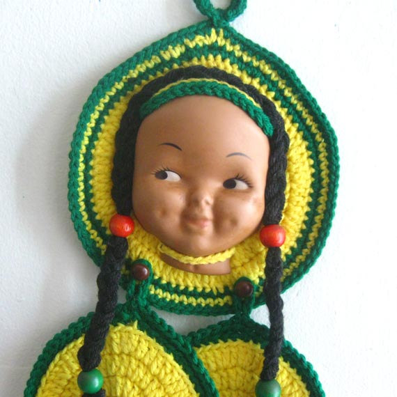 Native American doll face potholder