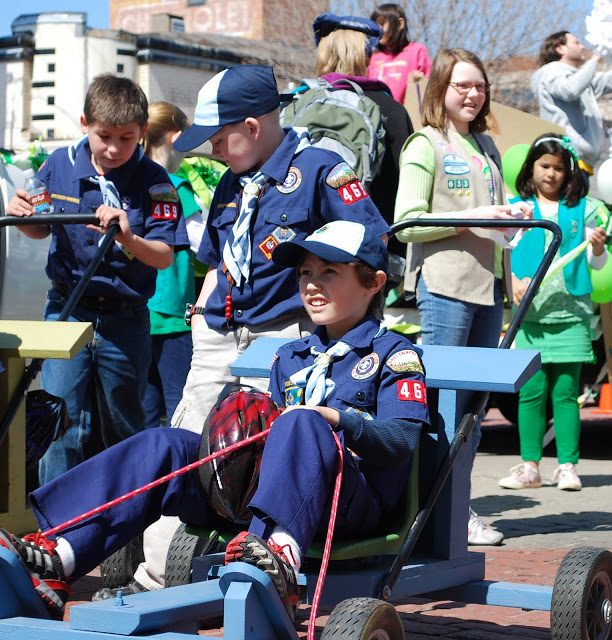 Boy Scouts and Girl Scouts in St. Patrick's Day Parade