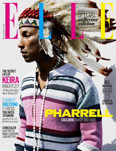 Pharrell in a war bonnet, June 2014, Elle